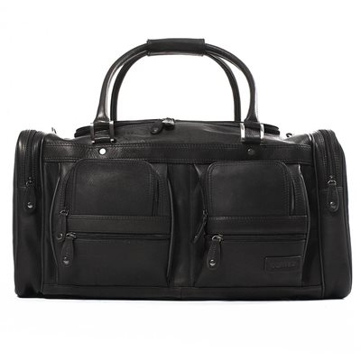 WOODLAND LEATHER CARGO LEATHER HOLDALL In Black by Adventure Avenue