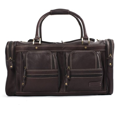 WOODLAND LEATHER CARGO HOLDALL In Dark Brown by Adventure Avenue