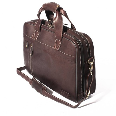 THE CLERK TWIN HANDLE BRIEFCASE  In Dark Brown by Adventure Avenue