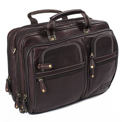 TRAVELLER OVERNIGHT LAPTOP BRIEFCASE In Brown by Adventure Avenue