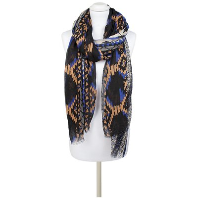 THEADORA Aztec Scarf in Blue