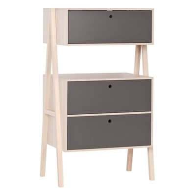 VOX SPOT CHEST OF THREE DRAWERS in Acacia and Graphite