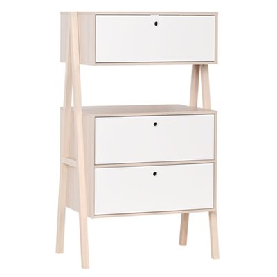Vox Spot Chest of Three Drawers in Acacia & White