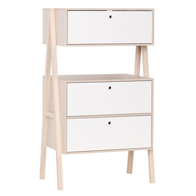 VOX SPOT CHEST OF THREE DRAWERS in Acacia and White