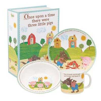 THREE LITTLE PIGS MELAMINE DINNER SET with Gift Box