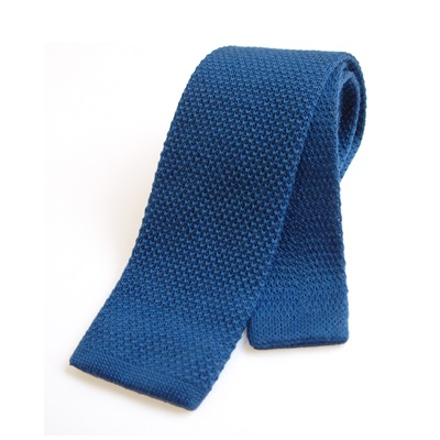 KNITTED WOOL TIE in Blue
