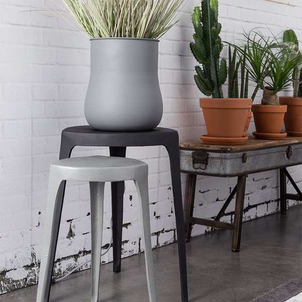 Set of 2 Small Industrial Style Tables in Black and Grey