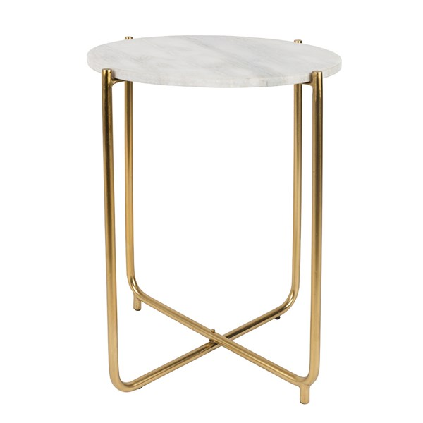 Timpa Marble Side Table in White