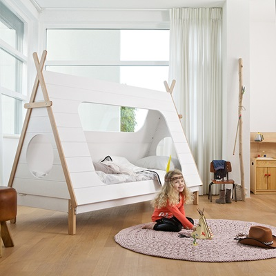 Kids Teepee Cabin Bed In White Solid Pine Cabin Beds