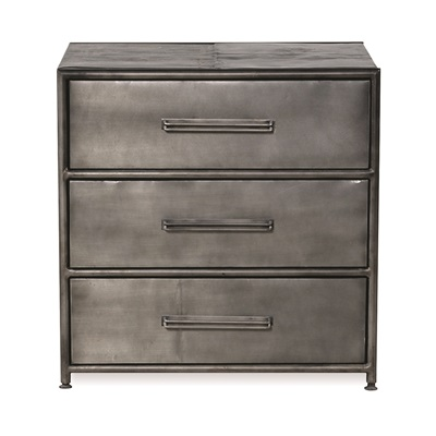 TITANIC DRUM 3 DRAWER SIDE TABLE in Beaten Steel