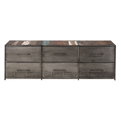 TITANIC DRUM TV STAND with 6 Drawers in Beaten Steel