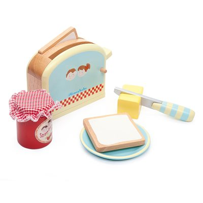 LE TOY VAN WOODEN HONEYBAKE TOASTER SET with Pop Up Function