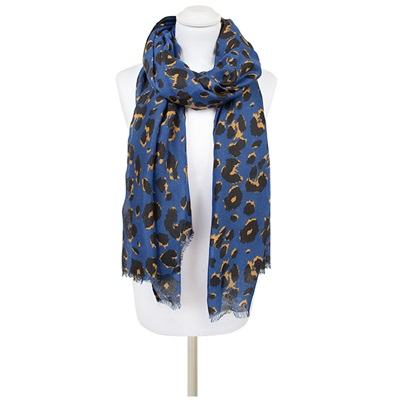 TOLENA Animal Print Scarf in Sapphire