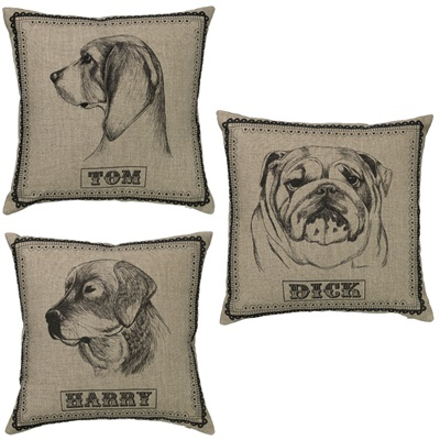 AS A SET: TOM, DICK & HARRY Linen Cushions by Amy Brocklehurst