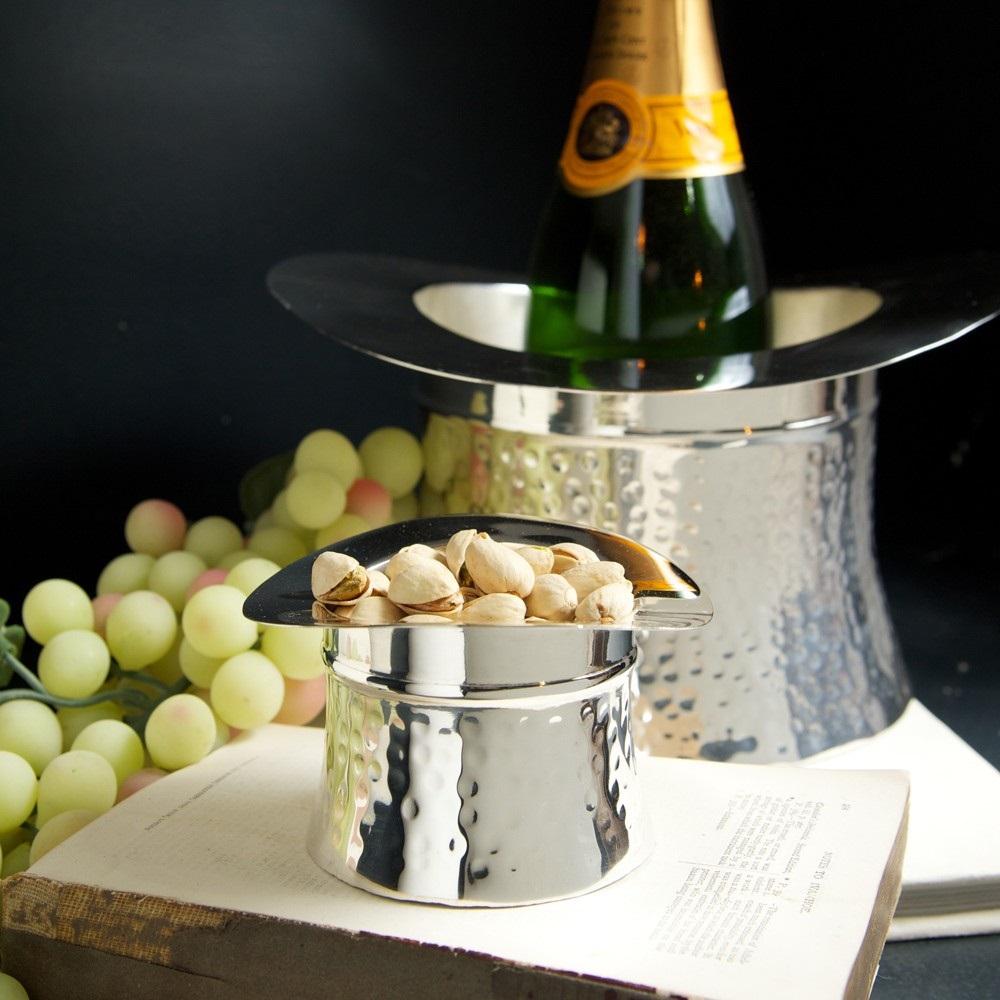 Best Wine For Wedding Gift: Wine Cooler In Silver Top Hat Design