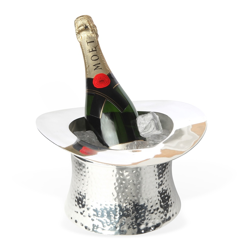 Wine Cooler In Silver Top Hat Design Wedding Gifts