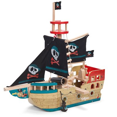 LE TOY VAN JOLLY PIRATE SHIP with Fabric Sails