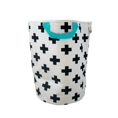 WILDFIRE KIDS TOY STORAGE BAG in Crosses with Seafoam Handles
