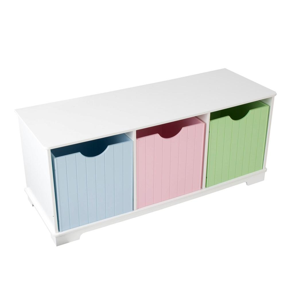 Kids Nantucket Storage Bench In Pastel Nursery Decor