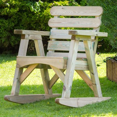 ZEST 4 LEISURE WOODEN ABBEY ROCKING GARDEN CHAIR