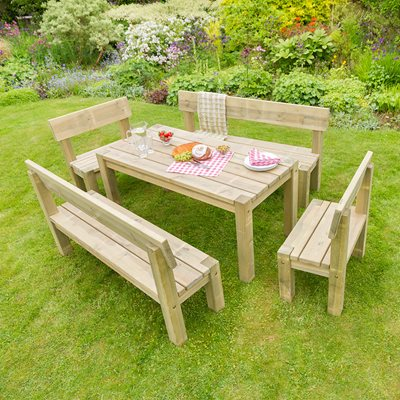 ZEST 4 LEISURE WOODEN PHILIPPA TABLE AND BENCH GARDEN SET