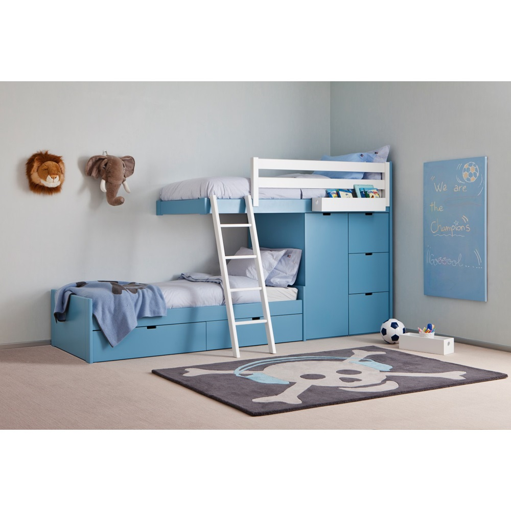 kids 3 tier train bed with wardrobe storage asoral. Black Bedroom Furniture Sets. Home Design Ideas