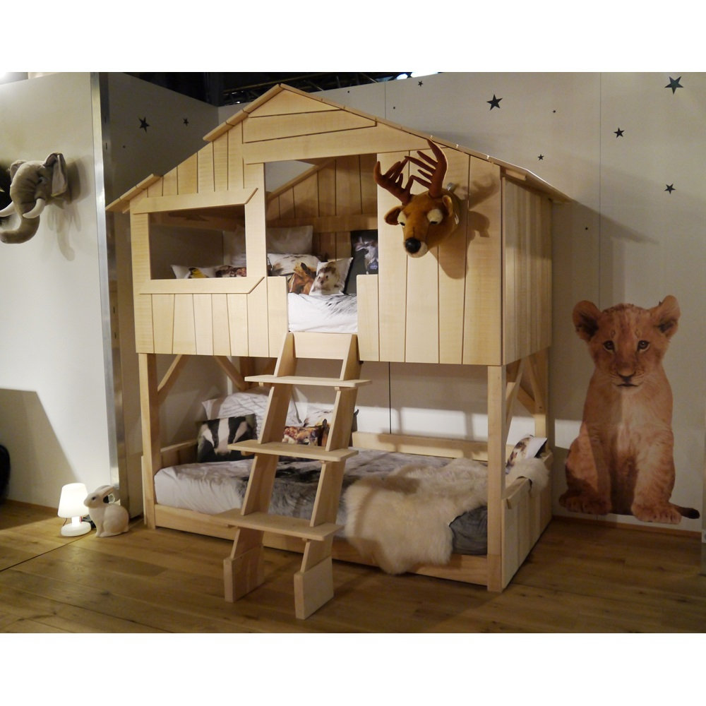 Kids Treehouse Bunk Bed in Natural Lime Wood   Cuckooland