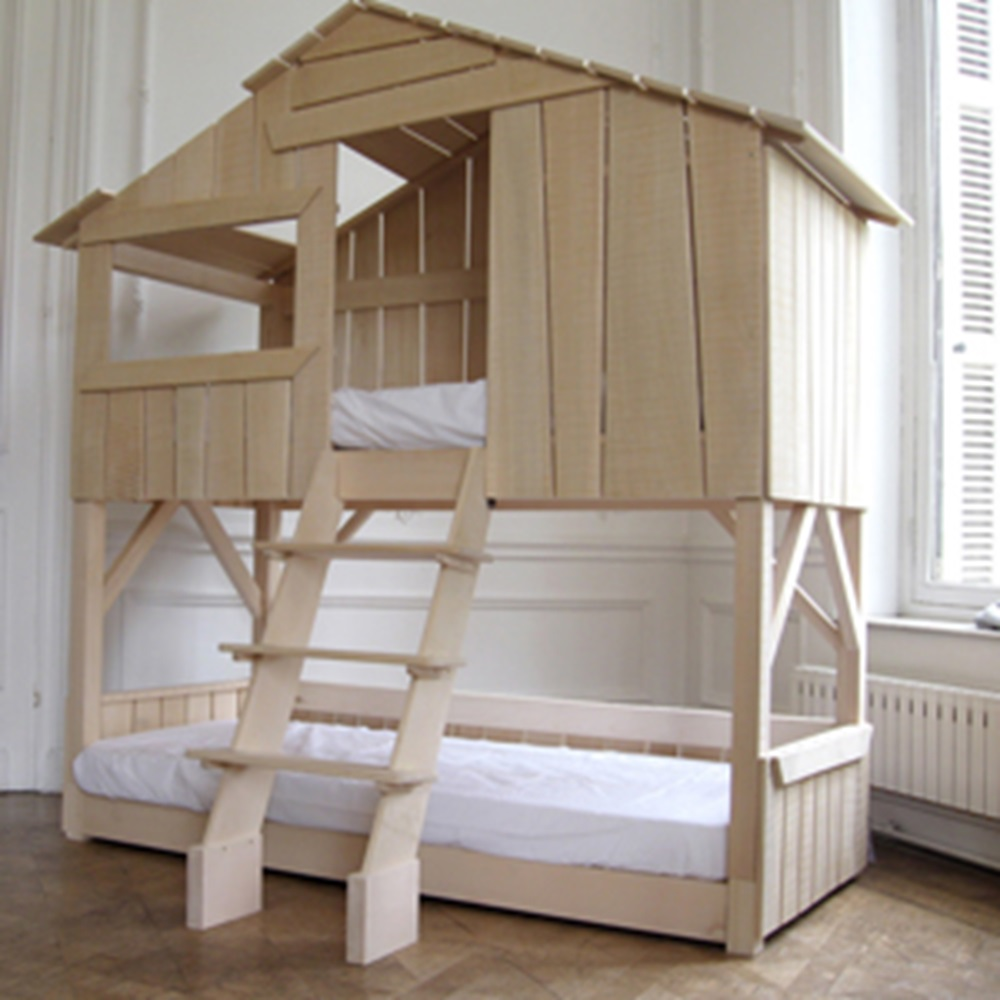 kids treehouse bunk bed in natural pine mdf cuckooland. Black Bedroom Furniture Sets. Home Design Ideas