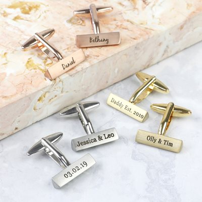 Personalised Men's Triangle Bar Cufflinks