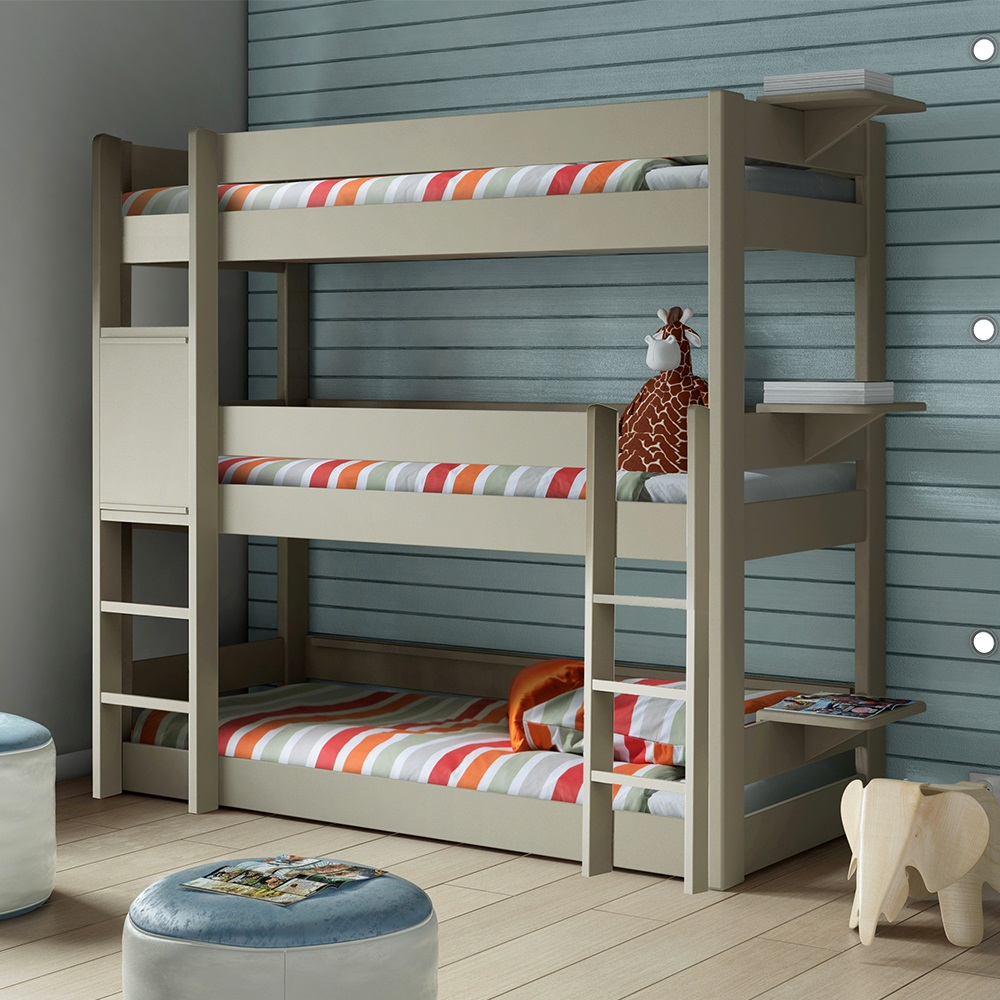 Kids triple bunk bed in dominique design kids beds for Bedroom ideas for 3 beds