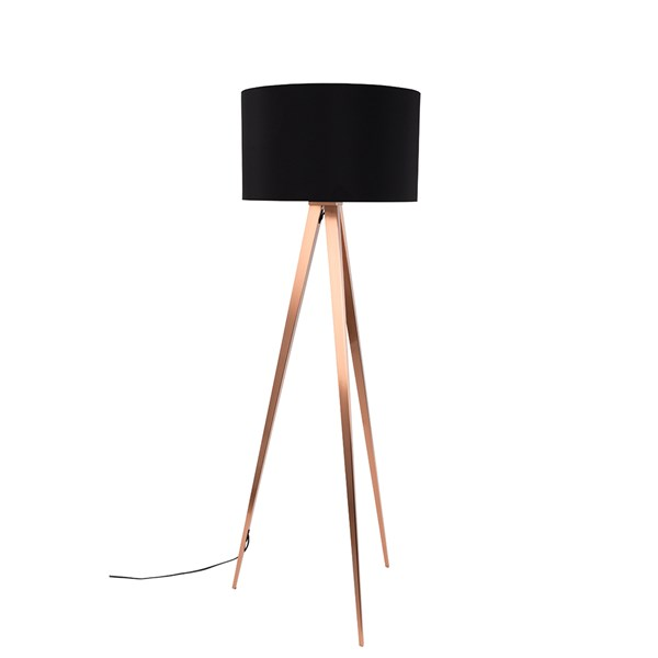 Zuiver Tripod Copper Floor Lamp in Black