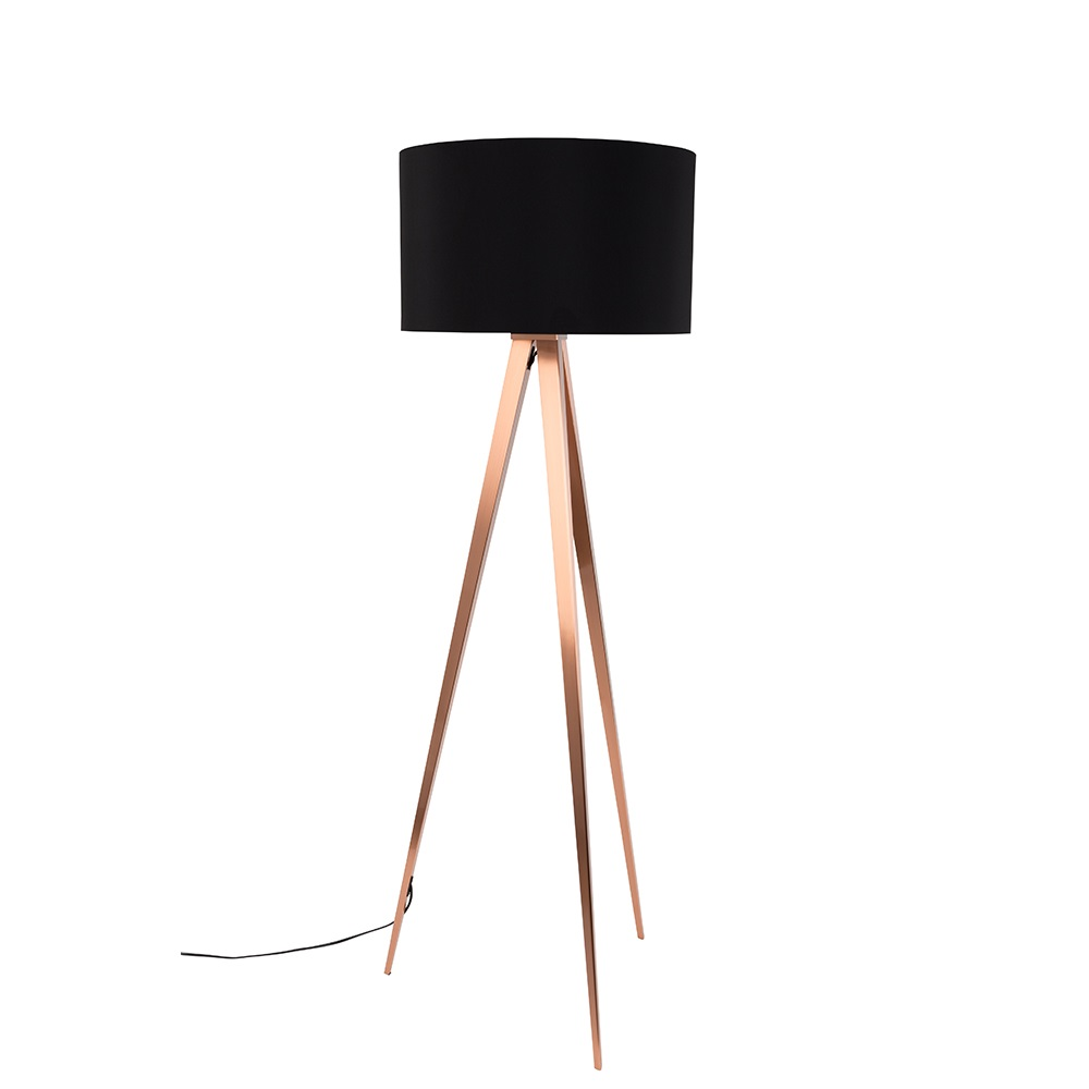 Tripod copper floor lamp in black floor lamps cuckooland tripod copper black floor lampg aloadofball Choice Image