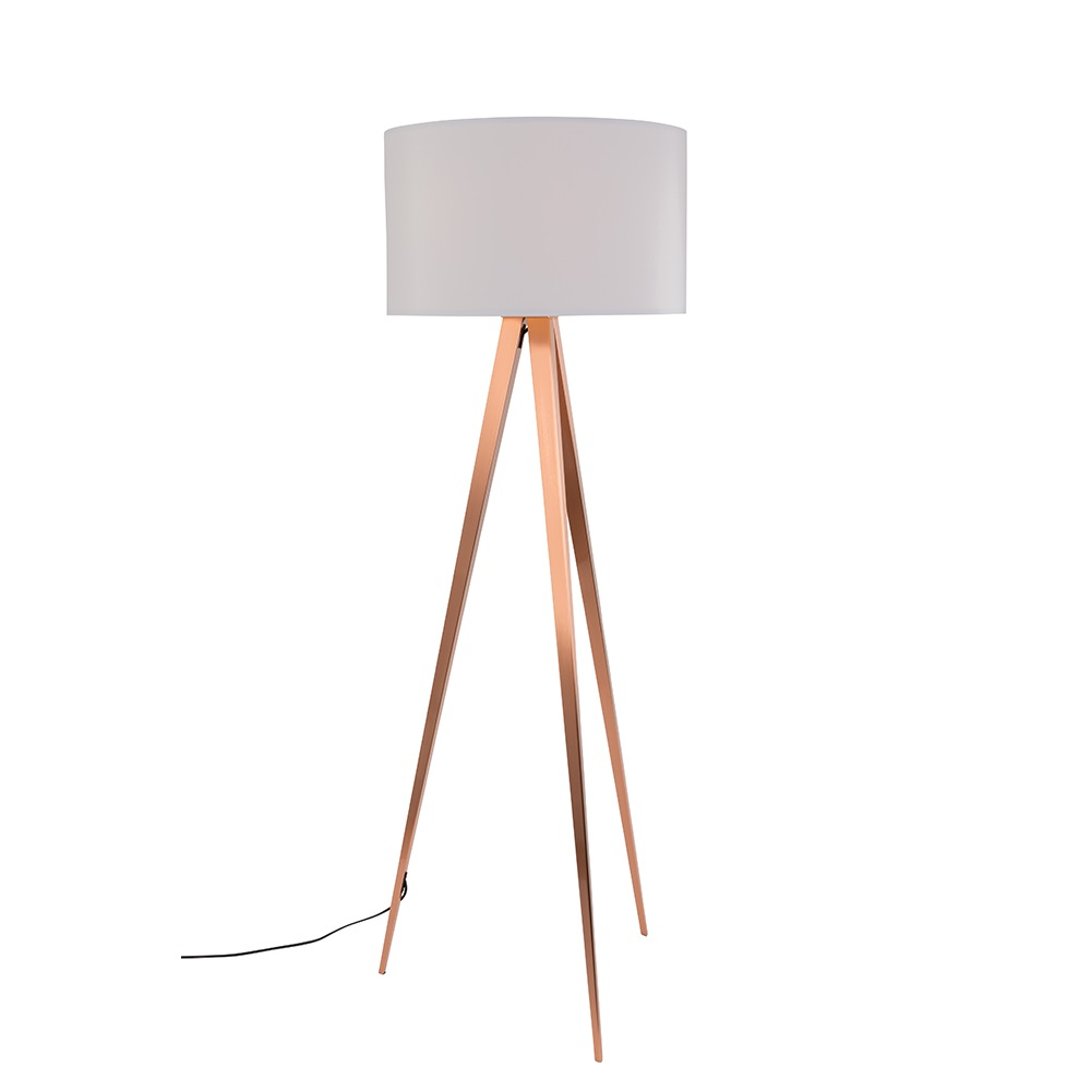Zuiver Tripod Copper Floor Lamp In White Zuiver Cuckooland