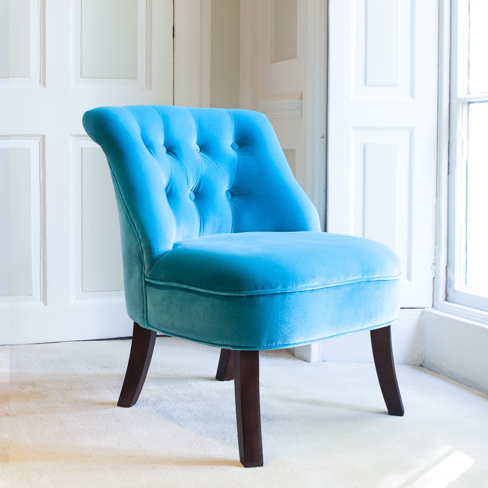 Velvet Occasional Tub Chair In Turquoise - Chairs & Sofas | Cuckooland
