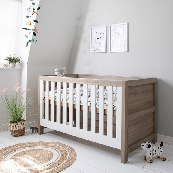 Baby and Toddler Bed with Oak and White Finish