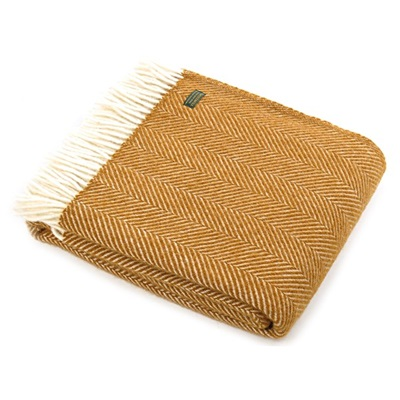 TweedMill Fishbone English Mustard Wool Throw