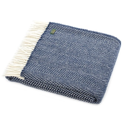 TweedMill Fishbone Navy Wool Throw