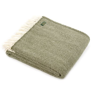TweedMill Fishbone Olive Wool Throw