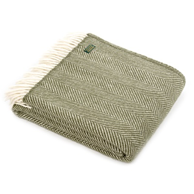 TweedMill Fishbone Olive Wool Throw