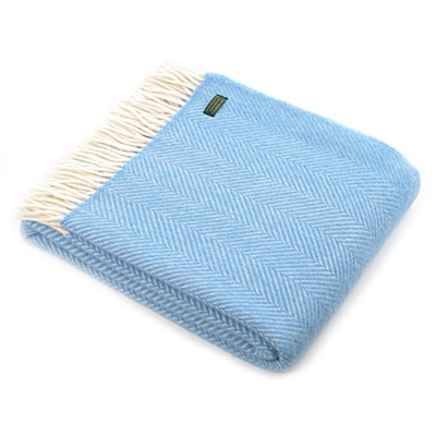 TweedMill Fishbone Sea Blue Wool Throw