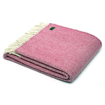 TweedMill Beehive Cerise Pink Wool Throw