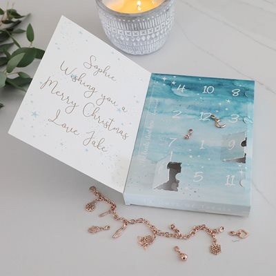 Personalised 12 Days of Treats Jewellery Advent Calendar in Rose Gold