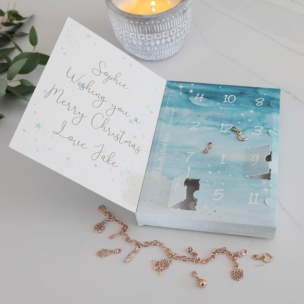 4d283869b48 Personalised 12 Days Of Treats Jewellery Advent Calendar in Rose Gold -  Lisa Angel | Cuckooland
