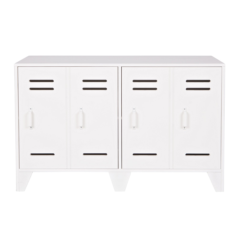 Low locker 2 door cabinet in white home office cuckooland for Meuble audio ikea