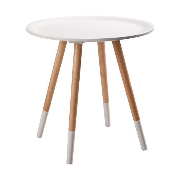 Modern White and Wood Side Table