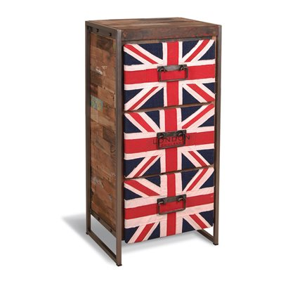 UNION JACK HIGH CHEST OF 3 DRAWERS in Reclaimed Boatwood