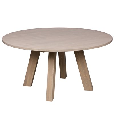 RHONDA ROUND DINING TABLE in Untreated Oak