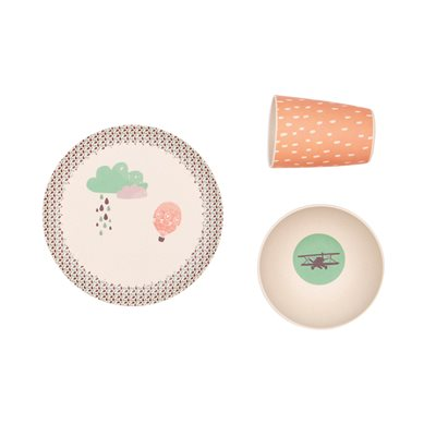 KIDS BAMBOO 3 PIECE DINNER SET - Up Up and Away