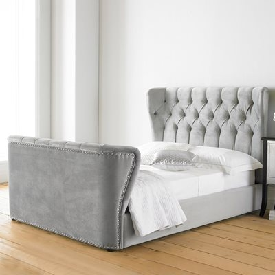 COPENHAGEN HIGH END UPHOLSTERED BED in Mid Grey