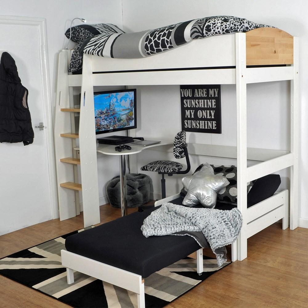 Urban Kids High Sleeper Bed 2 In White And Birch Kids